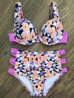 High Waist Flower Print Bikini Set - WHITE S