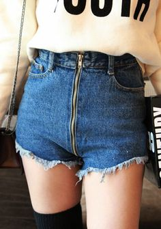 Zipped Down Denim Shorts