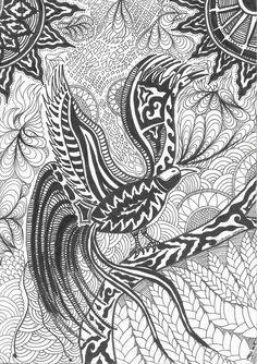 Life of a Papuan... Cendrawasih Pattern Bird of Paradise  #SketchPen #Balck&White