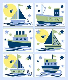 NAUTICAL NURSERY PRINTS Sailboat Wall Art Boy Blue Sage Green Room Decor Baby Shower Gift Childrens Kids Seashore Anchor Sail Boat Bedroom #decampstudios