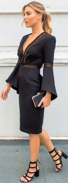Bell Sleeve Dress & Statement Sandalheels.