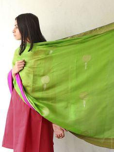 Leaf Green Silk & Zari Marigold Dupatta by Raw Mango