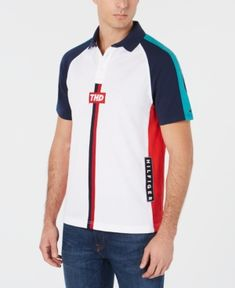 Tommy Hilfiger Denim Men's Omar Colorblocked Polo, Created for Macy's - White XXL Hilfiger Denim, Tommy Hilfiger, Camisa Polo, Plus Size Activewear, Boys Shirts, Nike Shorts, Polo Ralph Lauren, Mens Fashion, Mens Tops