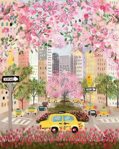 Seasons of NYC - Park Ave by Joy Laforme. Art and illustration Art And Illustration, Illustration Inspiration, Watercolor Illustration, Animal Illustrations, Pattern Illustration, Art Mignon, Posca Art, Watercolor Art, Simple Watercolor