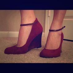 Nine West. Wedge burgundy/dark red (nice red) New. Never been used. Nine West Shoes Wedges