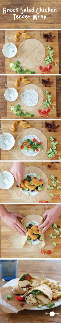 Make this Greek Salad Chicken Tender Wrap in 30 minutes or less! Click for recipe.