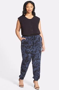 DKNY Jeans Solid & Camo Print Jumpsuit Size 2X $110 FTC #4108