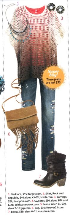 Outfit from the pages of All You magazine.  Sweater from Coldwater Creek, jeans from JCPennys