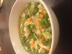 Week1 Day2. Chicken Soup Dinner. 100g cooked chicken. Stock. 1/2 onion. 1/2 cup carrot. Instead of 1/2 potato - 1/2 cup cauliflower +1/2 cup zucchini +1/2 cup broccollini. Garlic. Ginger. Chilli flakes. Sprinkle of spring onions to garnish.