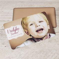 Vrolijke fotokaart met etiket | Tadaaz
