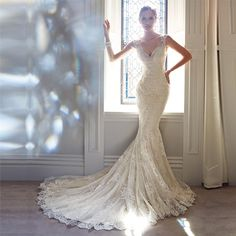 Sexy V-neck Sleeveless See Through Mermaid Lace Wedding Dresses, Bridal Gown, WD0132