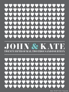 Graben Sie langweilig Gästebuch und erhalten Sie diese moderne Herz-Gästebuch-Alternative, die personalisiert ist für Ihre Hochzeit. Gäste auf