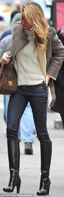 Gisele Bundchen in skinny jeans, white sweater, grey coat, and Maison Martin Margiela Leather Knee Boots.