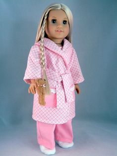 Pajama and robe set for 18 American Girl Doll by by BringingJoy, $35.00