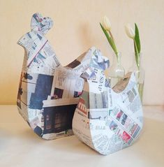 Learn How to Make Paper Mache Paste and What To Do With It: Make Papier Mache Hens papermacheclay Paper Mache Diy, Paper Mache Paste, Making Paper Mache, Paper Mache Projects, Paper Mache Sculpture, Quilling Paper Craft, Arts And Crafts For Teens, Paper Crafts For Kids, Cardboard Crafts