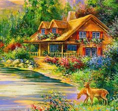 Bob Ross Paintings, Scenery Paintings, Landscape Paintings, Cottage Art, Types Of Art, Beautiful Paintings, Watercolor Illustration, House Painting, Wallpaper