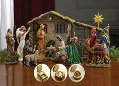 "7"" Scale Figure Nativity Set with Stable  What makes this set unique: Each King's box opens to display the REAL gifts! 19 piece set with REAL gifts of Gold, Frankincense and Myrrh from the Three Wisemen in three separate chests! The dramatic realism and true elements like real gold, frankincense and myrrh make an heirloom that will be a source of meaningful joy for many years. Removable Jesus can lie in Mary s arms (shown) or swaddled in the manger. Each set comes complete with a Certificate…"