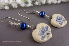 Artisan Stoneware Heart Charms and Blue Pearl Earrings | Handcrafted Jewelry by Patti Vanderbloemen