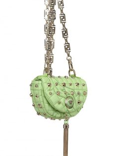 f4cf6b2f7446 Versace Baroque Studded Nappa Shoulder Bag in Green