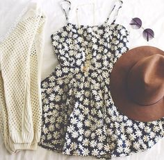 Cute outfit, would be perfect for Spring/Summer. Cream cardi and pretty floral dress. Not too sure about the hat as I'm not really a hat person.