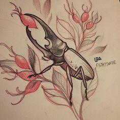 Hercules beetle with some rosehip  #Filthyswede #buzzstop28 #rosehip #beetle #herculesbeetle #artist #art #artcollective #artwork #artfido #artnerd #artcollective #sketches #sketch #skiss #pencil #pen #illustration #design #ladytattooers #tattooartist #tattoo #tatuerare #drawing #design #draw #gothenburg #nawden #instaart
