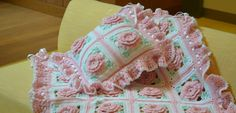 Crocheted Pink Roses Floral Accent Pillow Made Fresh after