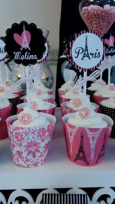 Pink and black cupcakes at a Paris birthday party! See more party ideas at CatchMyParty.com!