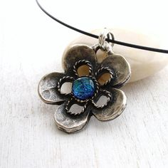 Teal Flower Necklace, Silver and Fused Glass Pendant