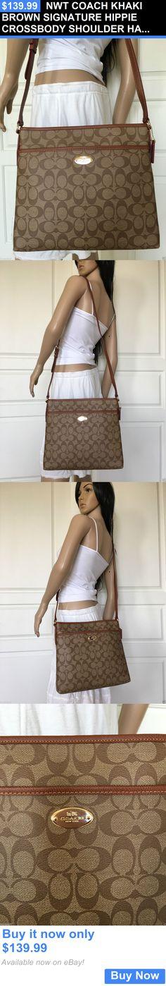Women Handbags and Purses: Nwt Coach Khaki Brown Signature Hippie Crossbody Shoulder Handbag Bag Purse BUY IT NOW ONLY: $139.99