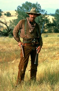 "Tom poses for the camera on location filming ""The Shadow Riders""1982."
