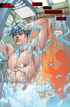 Red Hood/Arsenal- Jason naked in the shower hot damn