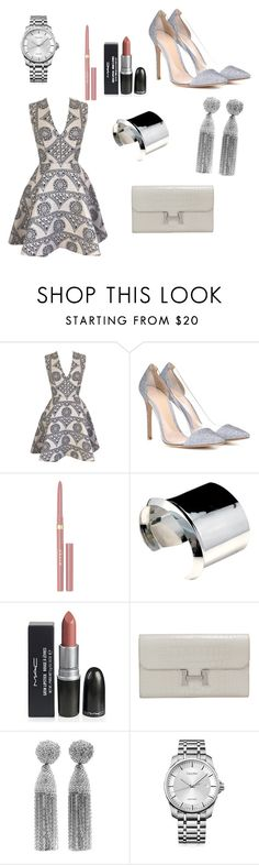 """Evening Look"" by hanakalesic ❤ liked on Polyvore featuring Joana Almagro, Gianvito Rossi, Stila, Hermès, Oscar de la Renta and Calvin Klein"