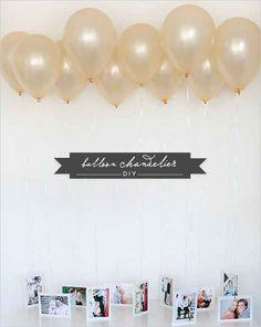 Dê um destaque especial para as fotos da sua festa criando um lustre de balões.