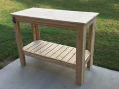 Several free plans, including a set for this grilling table that would be very helpful on our deck.