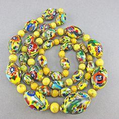 Vintage Millefiori Beads Venetian Glass Beads Necklace £85.00 by goodoldbeads
