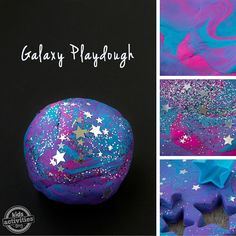 """We are just a little crazy for kid's Galaxy crafts and activities. From Galaxy Slime to The Galaxy, In a Bottle, the glitter and vibrant colors are simply engaging. Kids will love this soft, sparkly playdough """"it's a great boredom buster! Moon Crafts, Vbs Crafts, Space Crafts, Space Activities, Craft Activities For Kids, Craft Ideas, Science Activities, Summer Activities, Summer Crafts For Toddlers"""