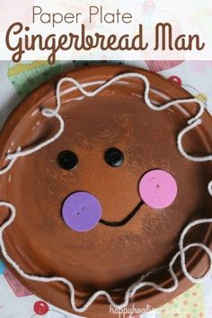 "Adorable Paper Plate Gingerbread Man – Happy Hooligans Paper Plate Gingerbread Man Craft – One of the cutest gingerbread crafts we've made! Great for toddlers and preschoolers, and perfect for a letter ""G"" unit. Kids Crafts, Daycare Crafts, Classroom Crafts, Christmas Crafts For Kids, Preschool Crafts, Merry Christmas, Xmas, Preschool Readiness, Christmas Activities For Toddlers"