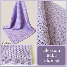 "FREE crochet pattern for a Blossom Baby Blanket. The finished blanket measures 30 x 30"", making it great for a covering blanket in the crib or the stroller."