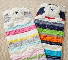 Multi Stripe Shaggy Puppy Sleeping Bag #pbkids