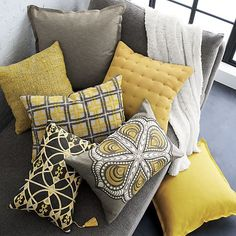 8 Determined Tips: Sewing Decorative Pillows Home decorative pillows floral cushion covers.Decorative Pillows With Words Guest Bedrooms decorative pillows on bed purple.Decorative Pillows On Bed Shabby Chic. Home Bedroom, Room Colors, Living Room Decor Gray, Pillows, Living Room Grey, Yellow Pillows, Throw Pillows, Yellow Living Room, Grey And Yellow Living Room