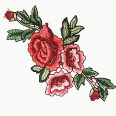 Embroidered Roses Flowers Sewing Appliques. Beautiful embroidered applique/ patch which is a great way to adorn your favorite bags, jeans and T-shirt. These are also great for your pillows, embroidery crafts, scrap booking decor and other DIY projects. Type: Flowers Color: Reds and green QTY : 1 pcs Size: 27 cm x 16.5 cm 27 cm = 10.6 in 16.5 cm = 6.5 in __________________________________ ✄ staribbon.etsy.com  Please follow us on Instagram! @staribbonfashion