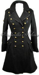 """Hell Bunny """"Imma"""" Black 1940s Military Corset Coat"""