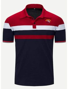 Shop Men Embroidery Cut And Sew Panel Polo Shirt online. SHEIN offers Men Embroidery Cut And Sew Panel Polo Shirt & more to fit your fashionable needs. Mens Polo T Shirts, Polo Tees, Boys Shirts, Shirt Men, Polo Shirt Design, Casual T Shirts, Shirt Designs, Stripes Design, Mens Tops
