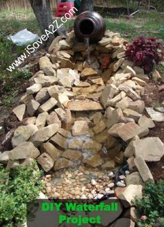 DIY Backyard Pond or waterfall! SO BEAUTIFUL! Pin this now for next year! Full tutorial and it's a beautiful pond! The outside of your home needs to be decorated just as well as the inside.