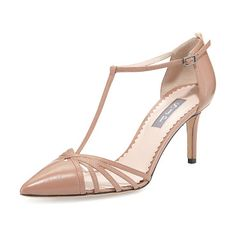 "Carrie leather t-strap 70mm pump by SJP by Sarah Jessica Parker. SJP by Sarah Jessica Parker napa leather pump. 3"" covered stiletto heel. Pointed toe with strappy..."