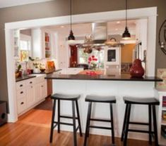 40 Luxury Open Kitchen Designs With Living Room Small Kitchen Remodel Designs Kitchen Living Luxury Open Room Half Wall Kitchen, Living Room Kitchen, Home Decor Kitchen, Kitchen Interior, Home Kitchens, Kitchen Ideas, Kitchen Inspiration, Diy Kitchen, Kitchen Bars