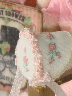 Dollhouse Miniature Girl feet bonnet. Embroidered by hand. Silk Ribbon