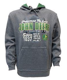 Genuine John Deere Grey Zipped Hoody Farm Workshop Pullover