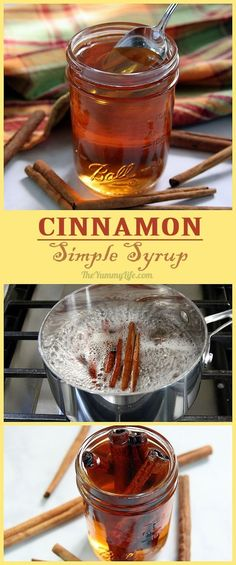 DIY Cinnamon Simple Syrup is so easy to make at home Add this popular sweet flavor to hot and cold drinkscoffee tea cider juice sangria cocktails Stir it into yogurt oatm. Chutney, Cinnamon Syrup, Cinnamon Sticks, Cinnamon Drink, Cinnamon Butter, Cinnamon Coffee, Homemade Syrup, Sweet Spice, Ice Cream Toppings