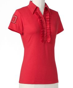 Take a look at this Red Ohio State Ruffle Polo - Women on zulily today!